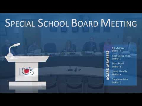 Special School Board Meeting January 30 2017