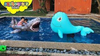 Shark vs Giant Blue Whale | Skyheart Water Battle animals shark toys for kids