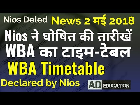 Nios deled WBA TimeTable( Dates) declared by nios WBA वर्कशाप की तारीखें घोषित