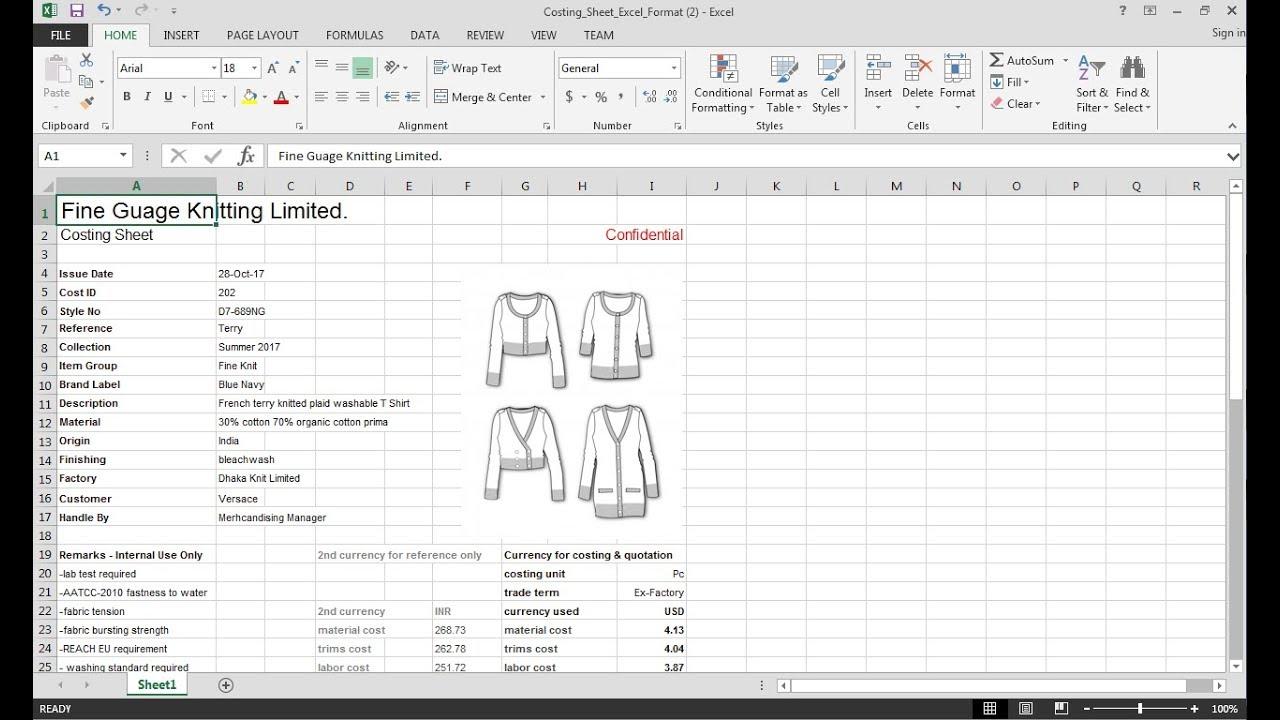 Garment Costing Sheet Youtube