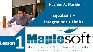 Maple Soft Lesson 1/3 starting maple, solve equations, integration, limit معادلات تكامل نهايات عربى screenshot 1
