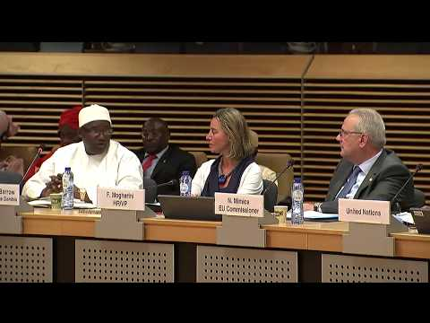 Gambian President HE Adama Barrow at the EU GAMBIA Round-table meeting. 22/05/2018