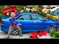 Mr. Joe found Toy Cars Ferrari & Lamborghini & Audi R8 in Big Car Opel Vectra OPC for Kids