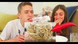 אכלנו תולעים אמיתיות בטעם שום!!! (חטיפים מהולנד)