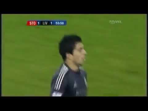 Luis Suárez Wonderful Goal vs  Stoke City Carling Cup