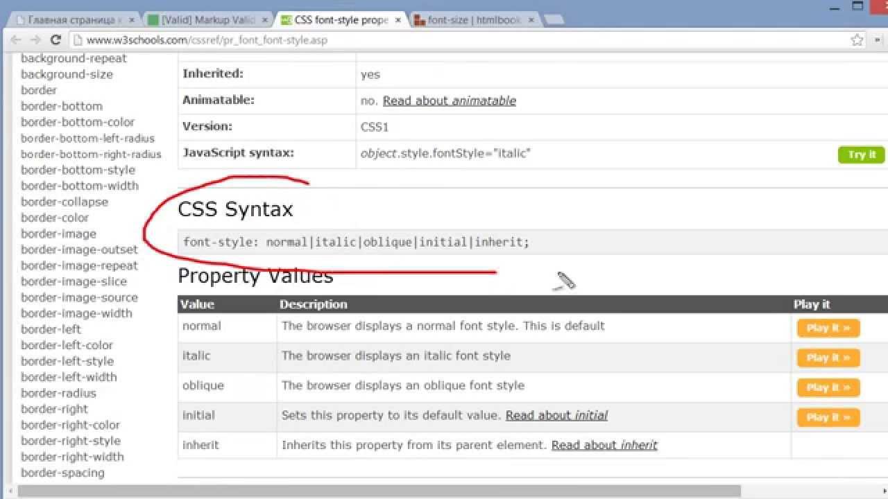 Как сделать курсив в html