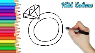 How to Draw Diamond Ring | Teach Drawing for Kids and Toddlers Coloring Page Video