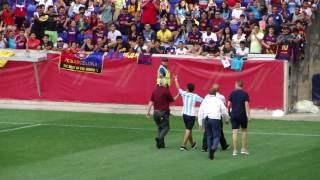 Messi Fan Escorted Off Field at FC Barcelona Practice at Red Bull Arena NJ July 21, 2017