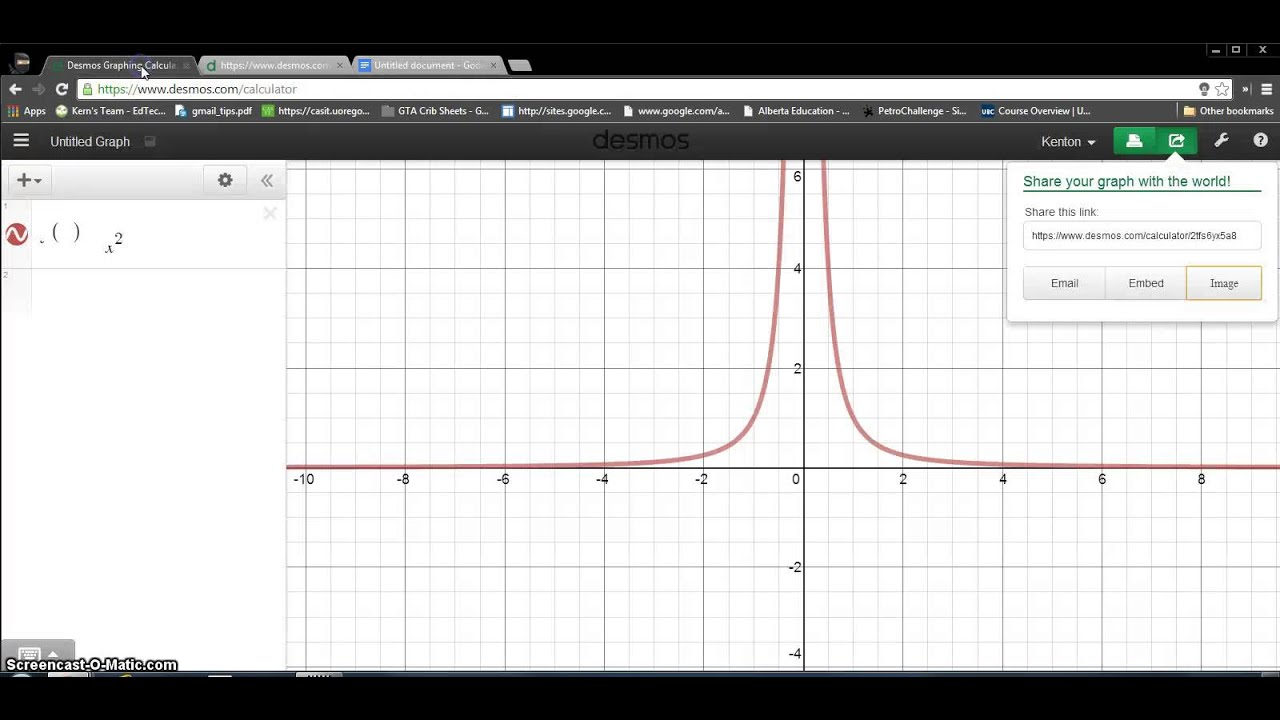 Using Desmos Graphing App to Input Graph into Google Doc or Word
