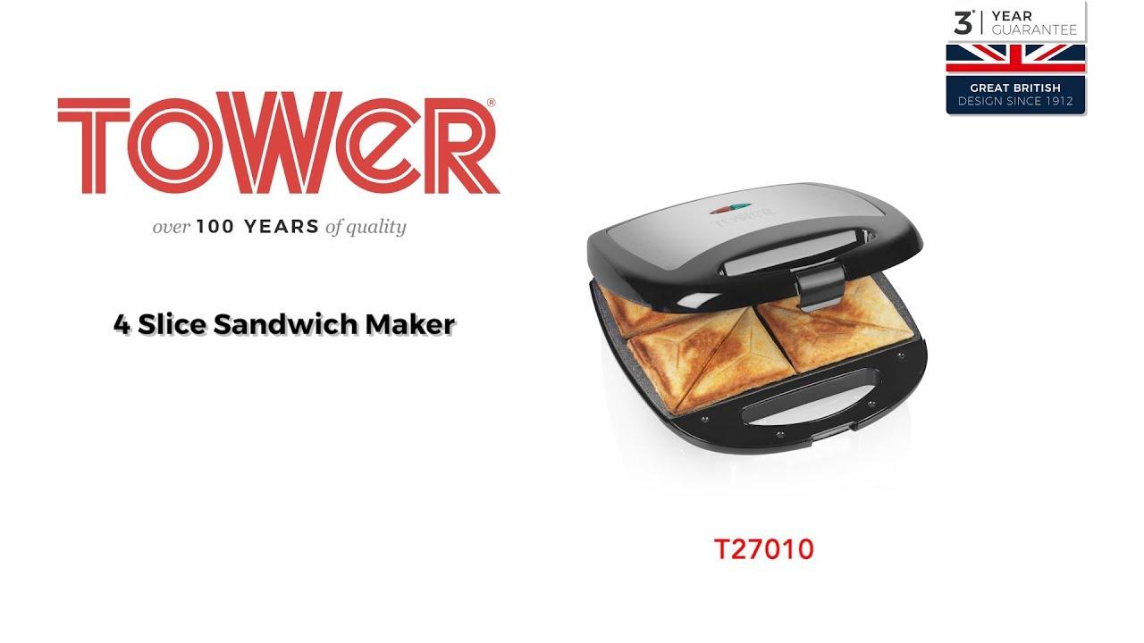 c067e883886 Tower 4 Slice Sandwich Maker - YouTube