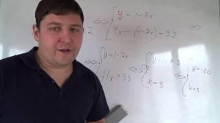Алгебра 7 класс. 18 октября. Решаем систему методом подстановки #2
