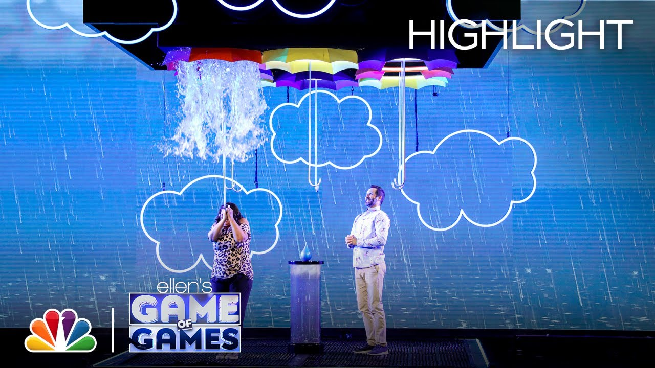 Download Make It Rain: Contestants Pull on Umbrellas Hoping for Confetti - Ellen's Game of Games 2021