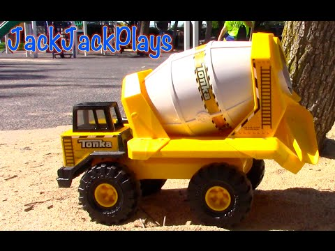 Construction Vehicles for Kids: Tonka Cement Mixer Toy UNBOXING- trucks bulldozer backhoe dump