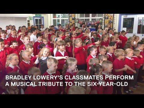 Bradley Lowery's classmates sing in his honour