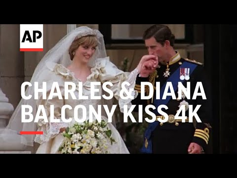 Wedding of Charles & Diana in 4K   Clip 11   Charles and Diana kiss on balcony   1981