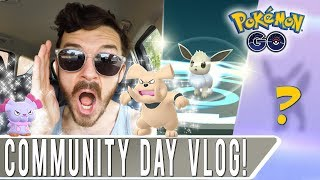 SHINY EEVEE COMMUNITY DAY VLOG DAY 1! Pokemon GO Eevee Name Trick on High IV Eevolutions