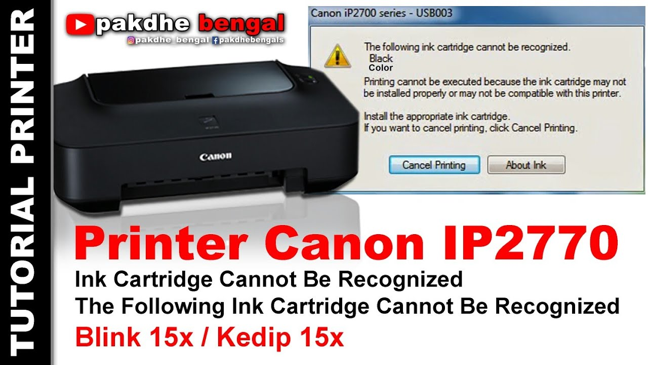 Printer Canon Ip2770 Cartridge Cannot Be Recognized Ink Cartridge