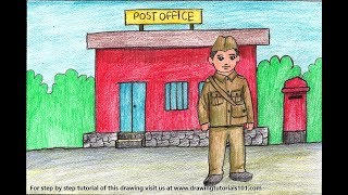 How to Draw a Postman outside Postoffice for Kids Step by Step - very easy