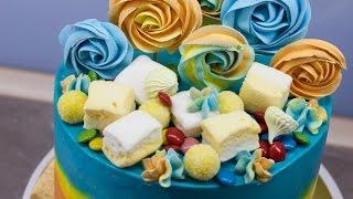 Оригинальный бисквитный торт. Простой рецепт выпечки. Собираем и украшаем торт. Печем меренги