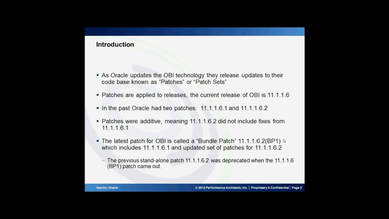 Updating Oracle Business Intelligence Enterprise Edition (OBIEE) 11 1 1 6  to the Latest Patch Set