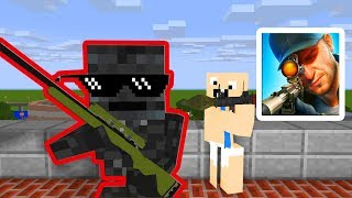 Monster School : SNIPER 3D GUN SHOOTER CHALLENGE - Minecraft Animation