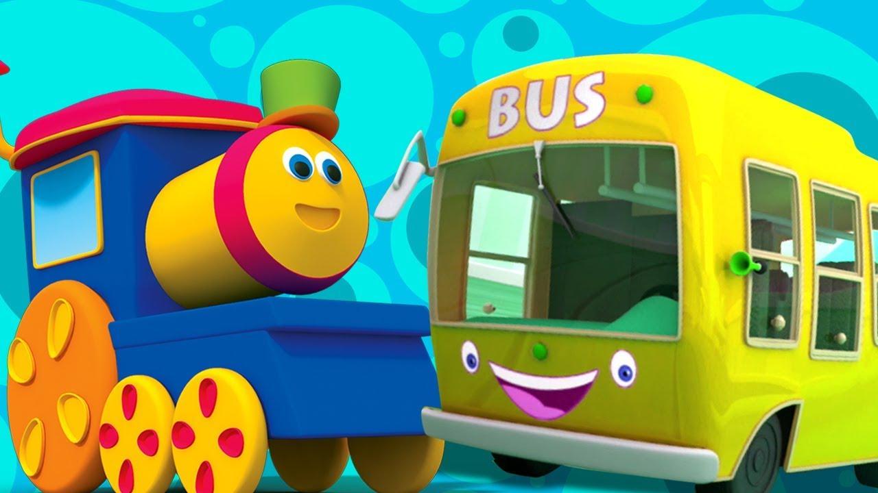 bob le train roues sur le bus chanson enfants bus chanson pour enfants wheels on the bus. Black Bedroom Furniture Sets. Home Design Ideas