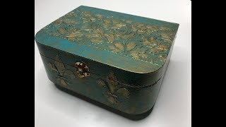 DIY Vintage Jewelry Box - How to make a mixed media art jewelry box - Antique Box