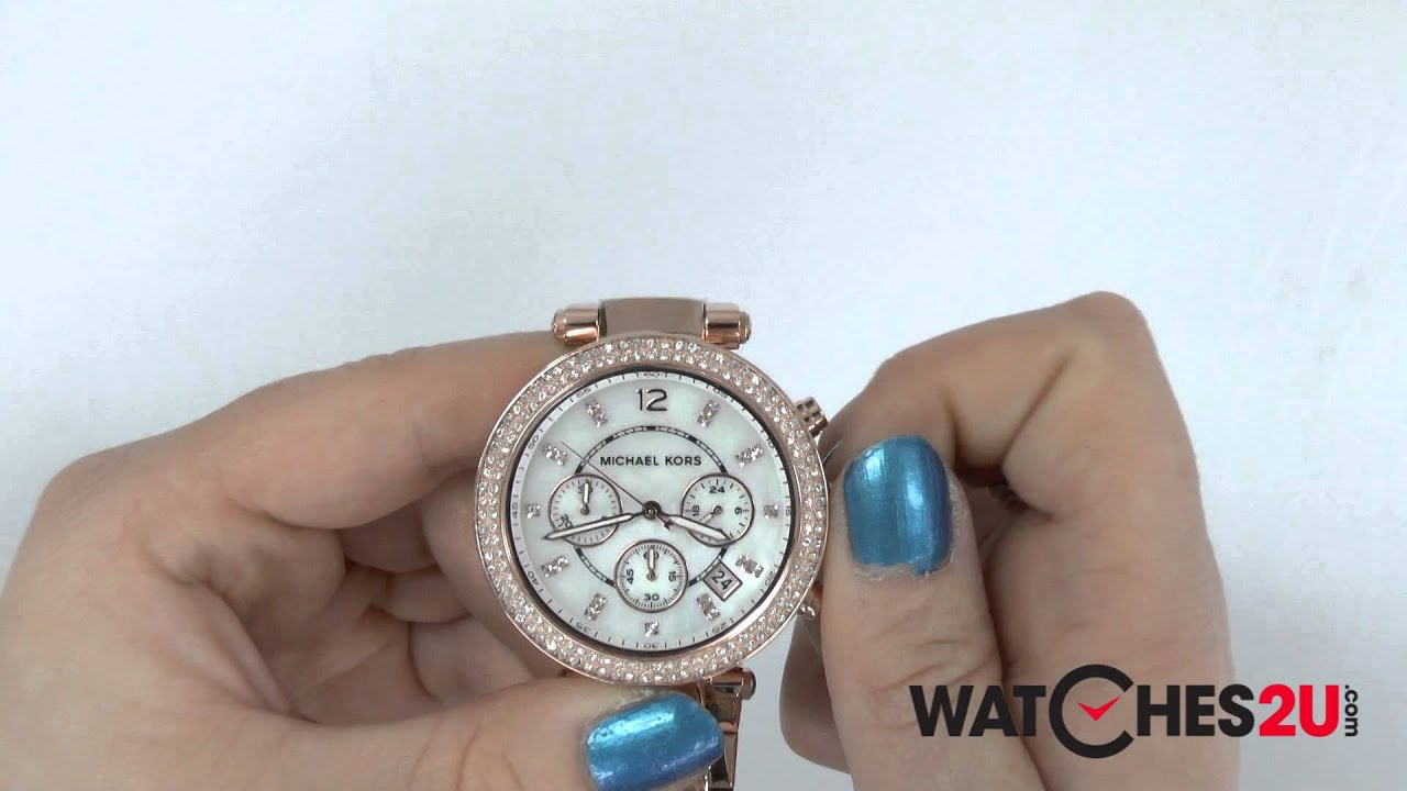 2be2418eb8fd MK5491 Michael Kors Ladies Parker Rose Gold Chronograph Watch - YouTube