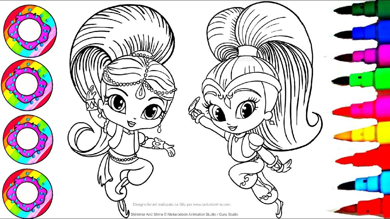 Colouring Drawings Shimmer And Shine Sparkle Rainbow Color Dress