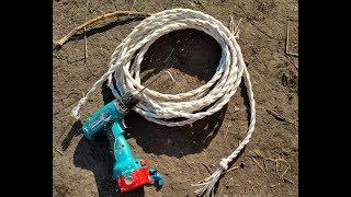 Как  связать веревку из шпагата с помощью шуруповерта.