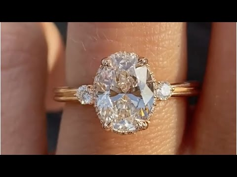 Kate Rose Gold Double Band 1 20ct Oval Diamond Three Stone Engagement Ring Youtube