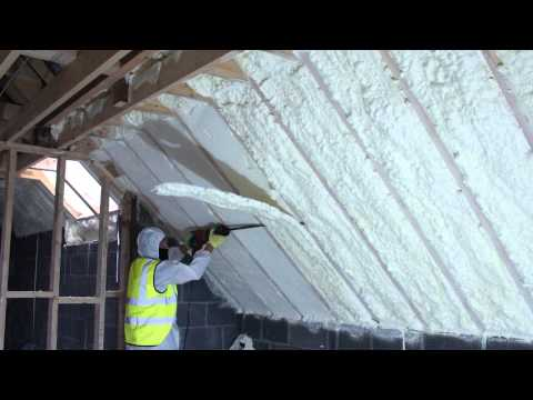 Spray Foam Of Attic And Then Foam Being Cut Evenly