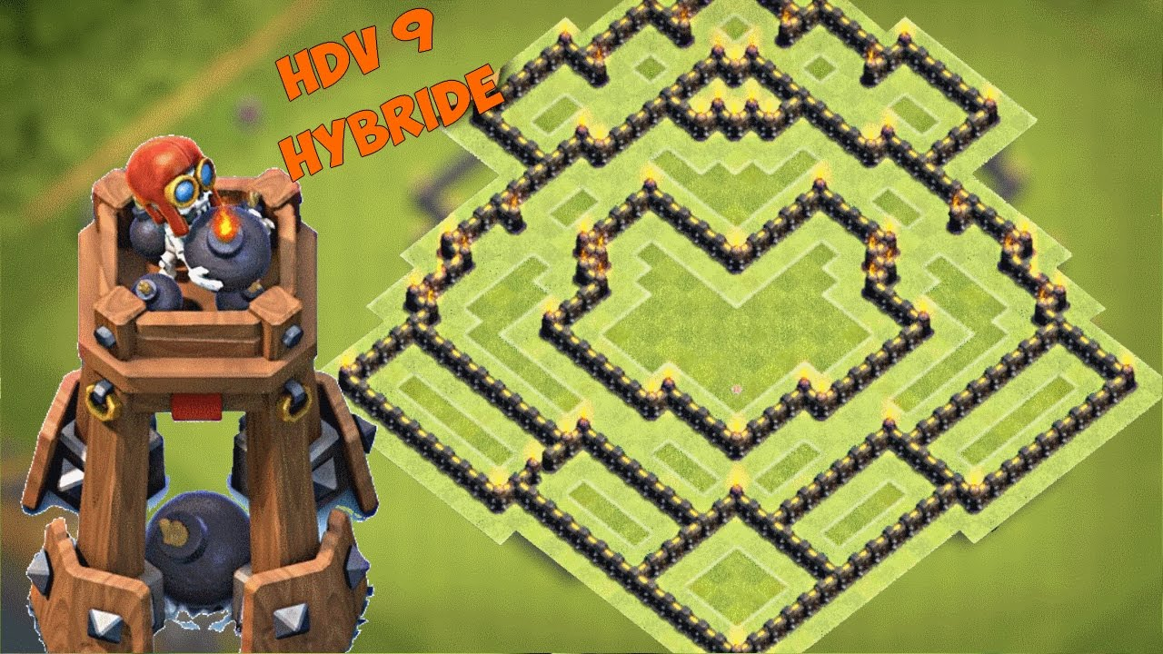 base hdv 9 farm hybride avec tour a bombes post m j octobre 2016 clash of clans youtube. Black Bedroom Furniture Sets. Home Design Ideas