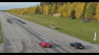DRONE view 659 HP Chevrolet Corvette Z06 C7 vs 700+ HP BMW 325i E30 Turbo and incar with interview