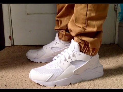 3ef67bb2ff87 Nike Air Huaraches Triple White On Feet! - YouTube