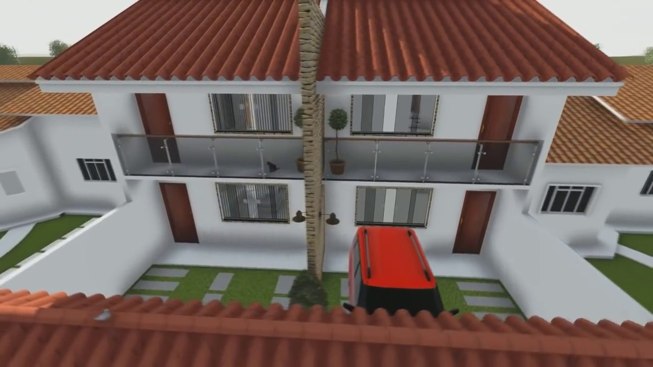 Duplex casa geminada em 3d maur cio rangel youtube for Modelos de mini apartamentos
