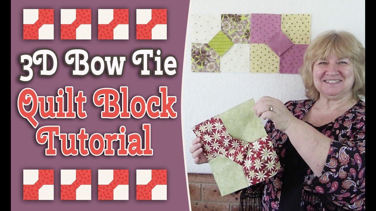 Quilting Blocks: 3D Bow Tie Quilt Block Tutorial