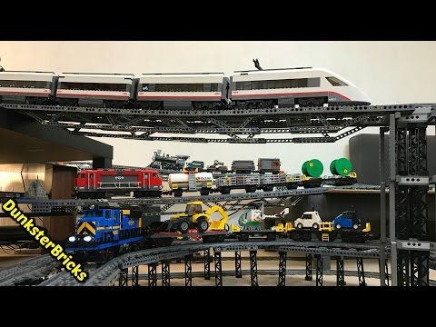 LEGO Train Track Setup #7!  8 Bridges, 3 Levels!  Cargo, Passenger and Steam Trains!