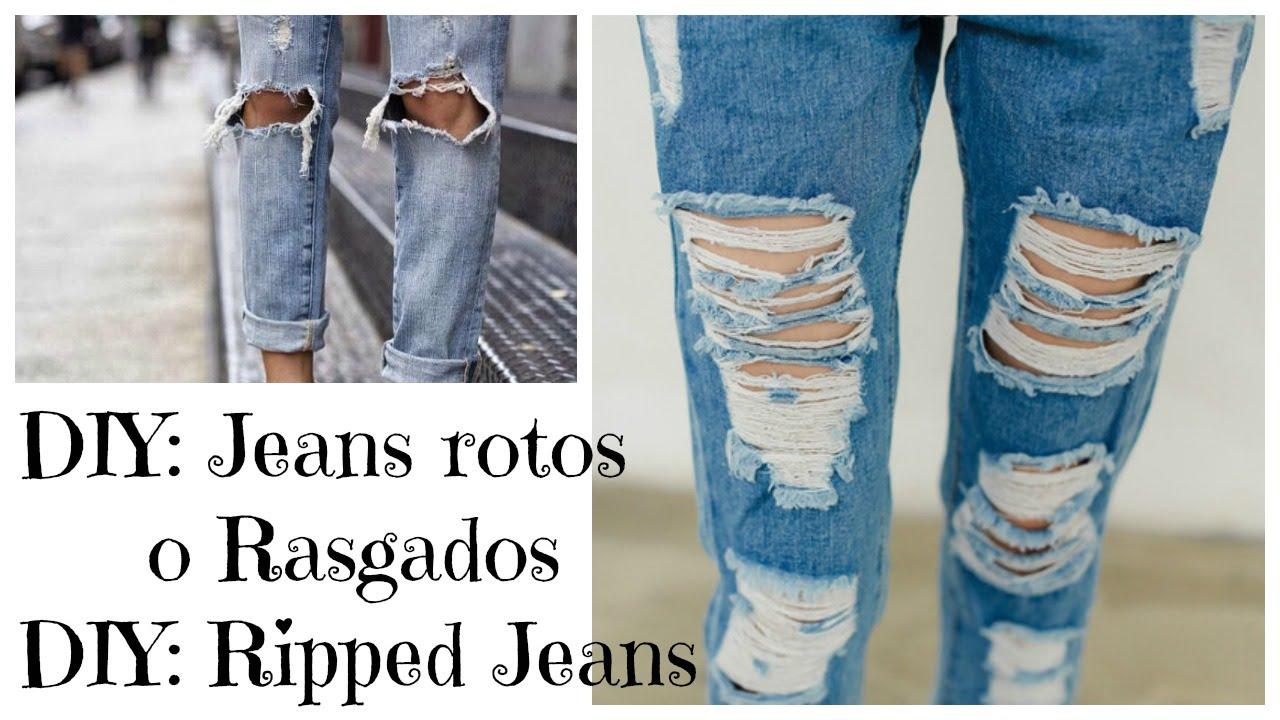 Diy Como Rasgar Tus Jeans Super Facil Diy Ripped Jeans Easy Youtube