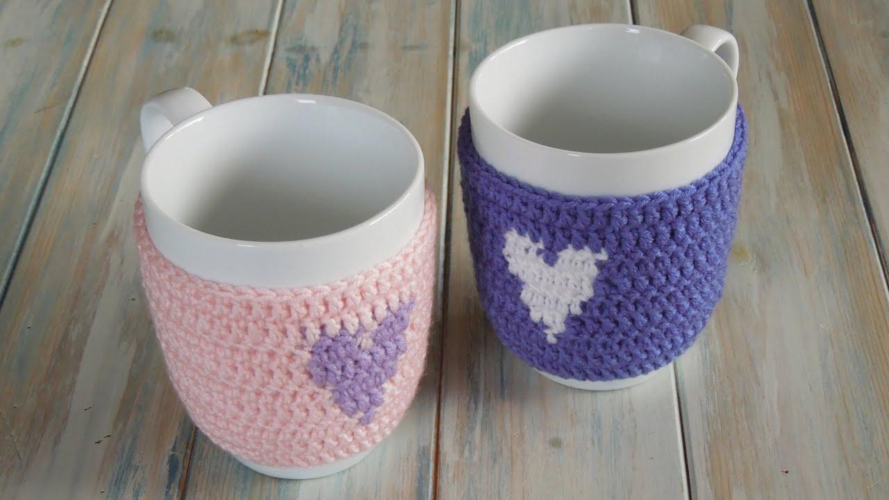 Crochet How To Crochet A Heart Mug Warmercup Cozy Yarn Scrap