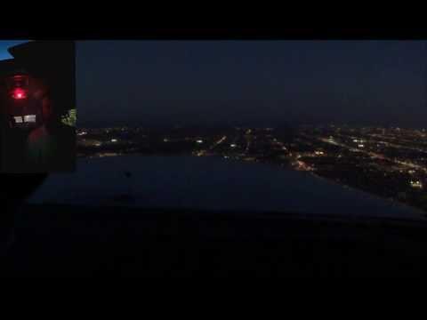 Night Flight to Tucson. Departing GEU - PHX Bravo transition landing at Tucson