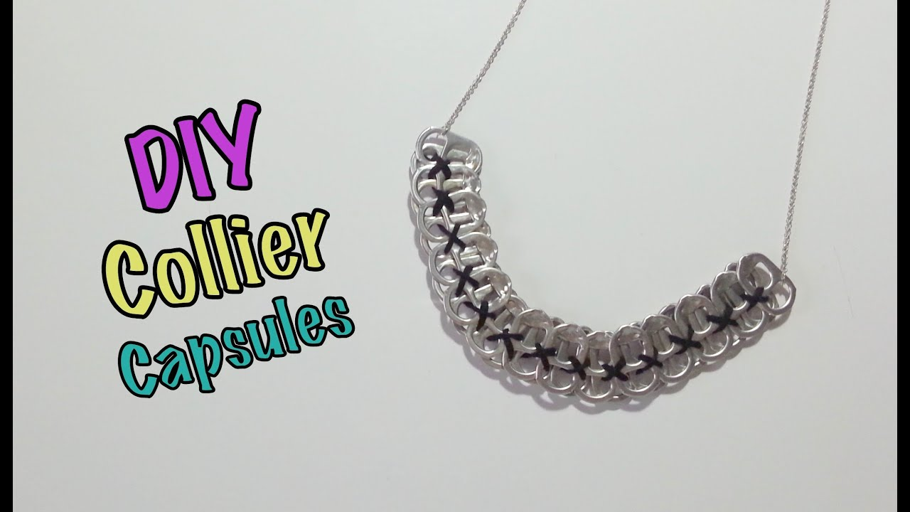 diy recyclage collier avec capsules de canettes youtube. Black Bedroom Furniture Sets. Home Design Ideas