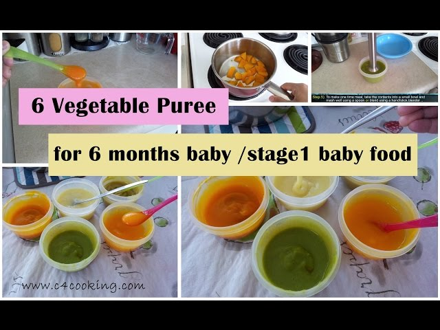 6 Vegetable Puree For 6 Months Baby Stage 1 Homemade Baby Food Recipe 6 Months Babyfoodrecipe