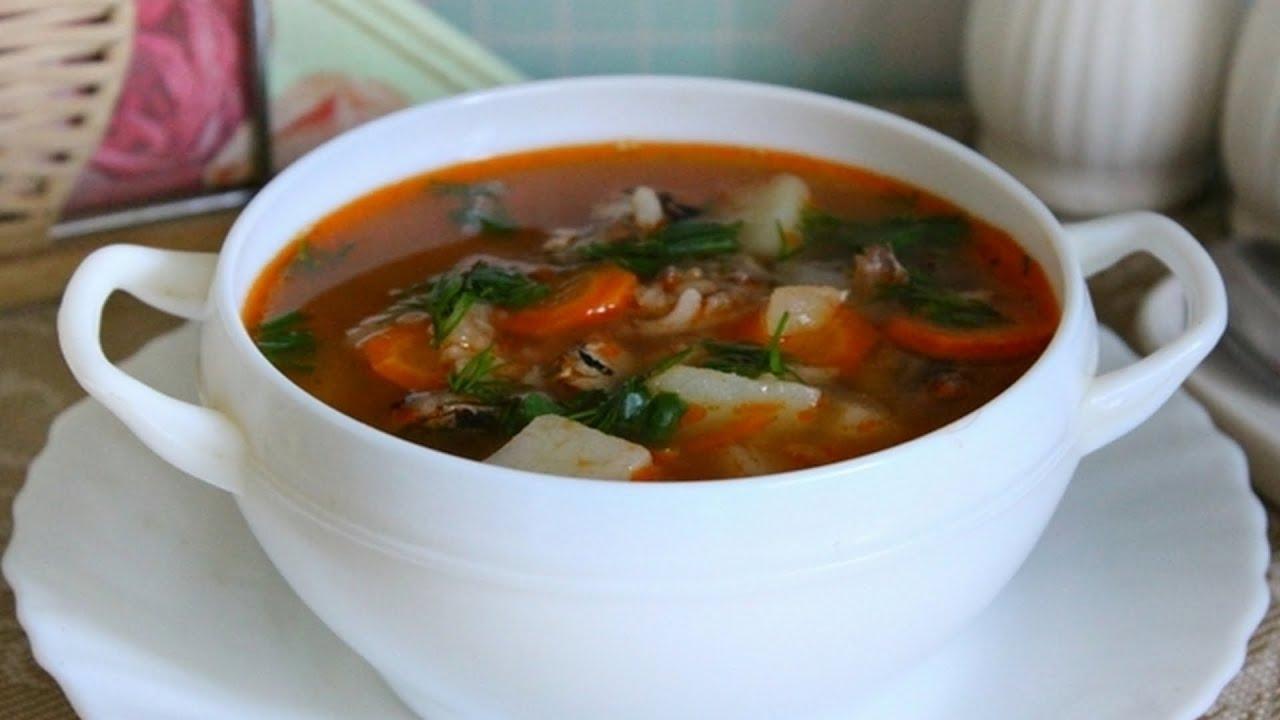 суп с килькой в томатном соусе с пшеном рецепт