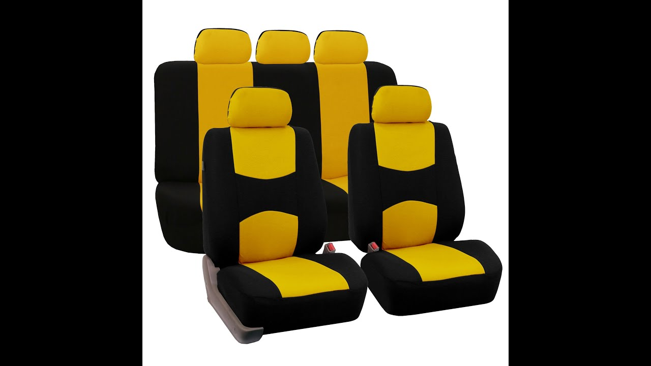 Flat Cloth Seat Covers Full Set - FH Group® - YouTube