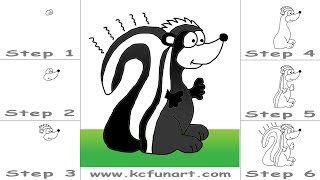 104-How To Draw A Cartoon Skunk