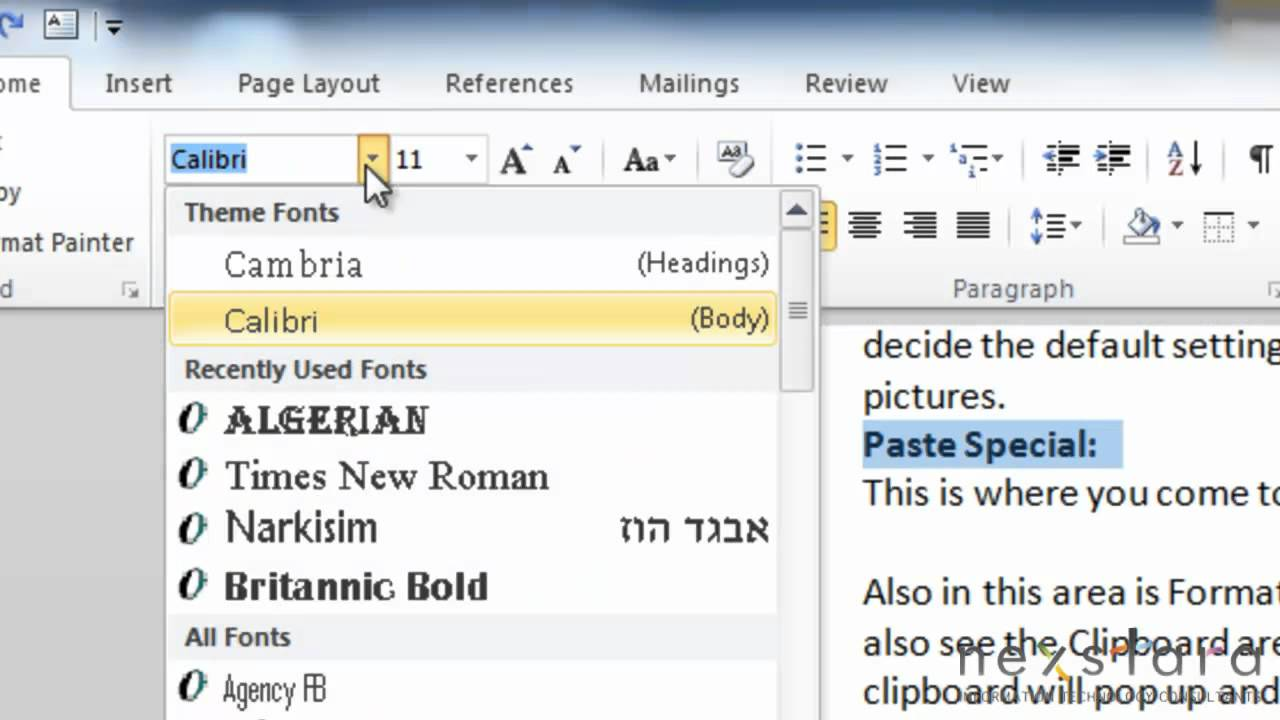 Microsoft Word 2010 - User Guide - Lesson Two - Copy and Paste, Fonts and  Paragraphs