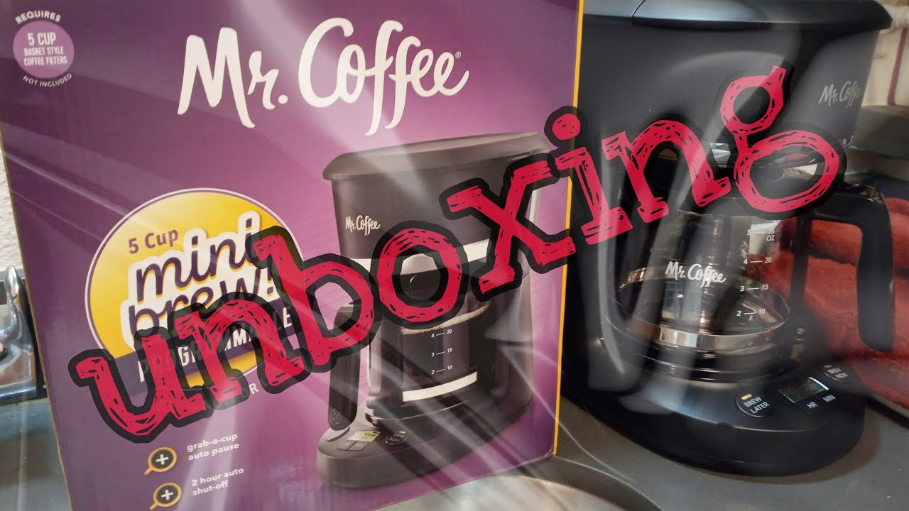 Mr. Coffee 5 cup mini-brew programmable coffee maker unboxing stuff - YouTube