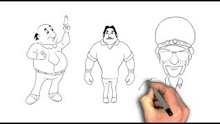 Learn How to Draw Chingam Boxer and Dr. Jhatka from Motu  patlu