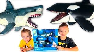 Игрушки для детей Игра Касатка и Акула Видео для детей Family fan game Shark Animal Planet